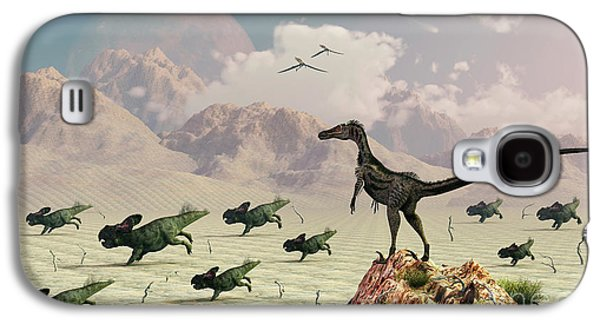Stampede Digital Art Galaxy S4 Cases - Protoceratops Stampede In Fear Galaxy S4 Case by Mark Stevenson