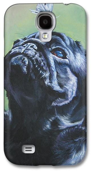 Puppies Galaxy S4 Cases - Pug black  Galaxy S4 Case by L A Shepard