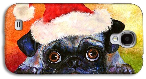 Puppy Drawings Galaxy S4 Cases - Pug Santa Portrait Galaxy S4 Case by Svetlana Novikova