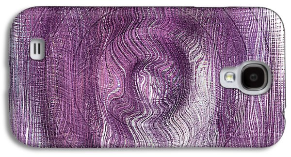 Abstract Digital Mixed Media Galaxy S4 Cases - Purple Concentric Circles Galaxy S4 Case by Bonnie Bruno