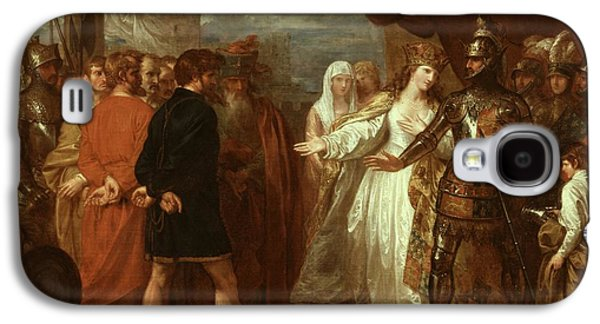 Historic Ship Galaxy S4 Cases - Queen Philippa Interceding for the Lives of the Burghers of Calais Galaxy S4 Case by Benjamin West