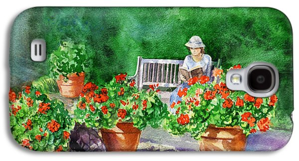 Red Geraniums Galaxy S4 Cases - Quiet Moment Reading In The Garden Galaxy S4 Case by Irina Sztukowski