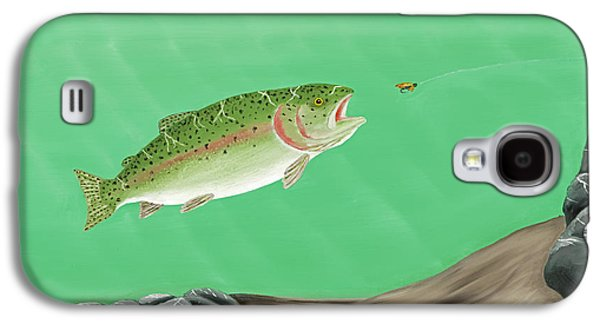 Sportfishing Galaxy S4 Cases - Rainbow Trout - Enticed from the pool Galaxy S4 Case by Ralph Martens