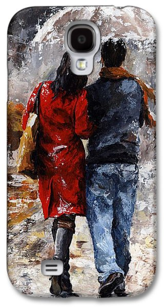 Standing Paintings Galaxy S4 Cases - Rainy day - Walking in the rain Galaxy S4 Case by Emerico Imre Toth