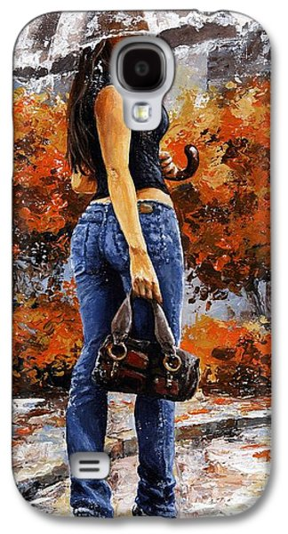Rain Paintings Galaxy S4 Cases - Rainy day - Woman of New York 14 Galaxy S4 Case by Emerico Imre Toth