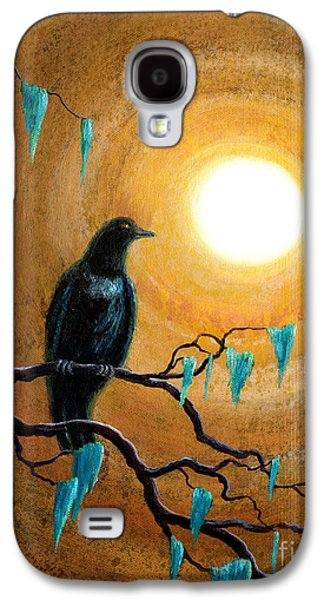 Crows Black Paintings Galaxy S4 Cases - Raven in Dark Autumn Galaxy S4 Case by Laura Iverson