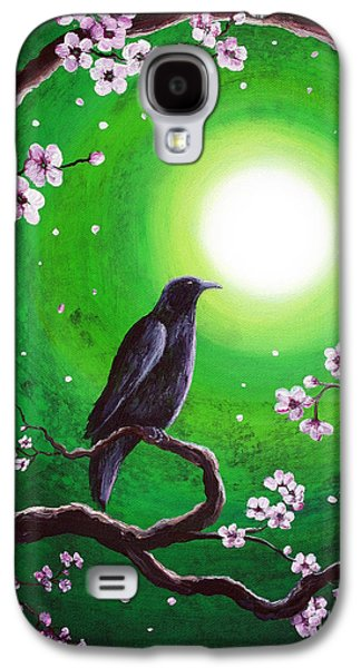 Crows Black Paintings Galaxy S4 Cases - Raven on a Spring Night Galaxy S4 Case by Laura Iverson