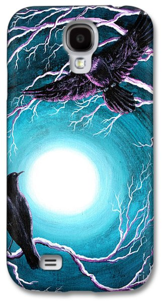 Crows Black Paintings Galaxy S4 Cases - Ravens on a Winter Night Galaxy S4 Case by Laura Iverson