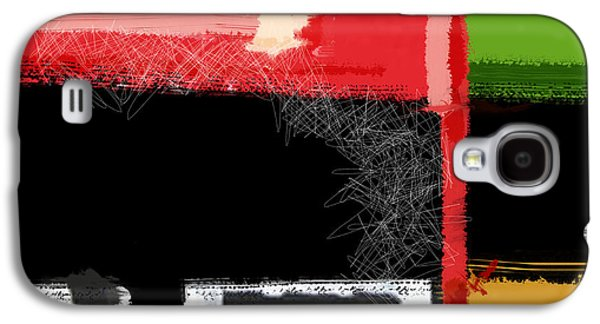Modern Abstract Galaxy S4 Cases - Red and Green Square Galaxy S4 Case by Naxart Studio