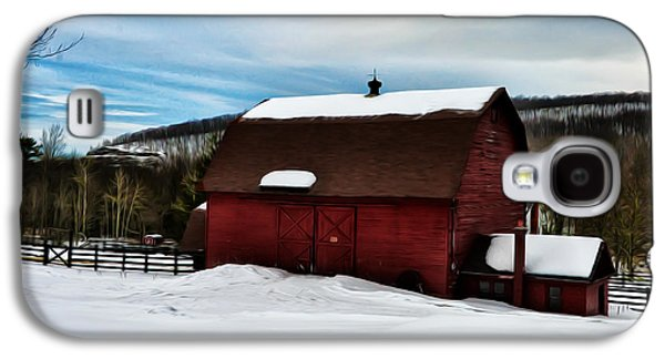 Red Barn In Winter Galaxy S4 Cases - Red Barn in the Snow Galaxy S4 Case by Bill Cannon