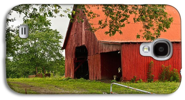 Tennessee Hay Bales Galaxy S4 Cases - Red Barn with Orange Roof 1 Galaxy S4 Case by Douglas Barnett