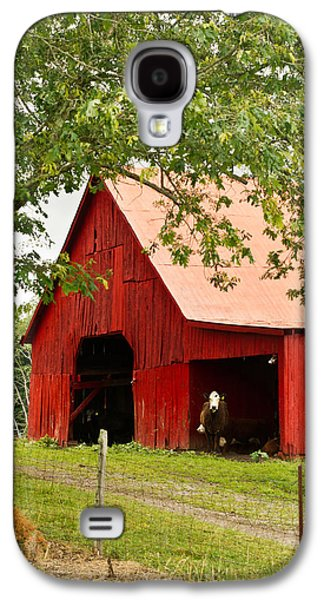 Tennessee Hay Bales Galaxy S4 Cases - Red Barn with Pink Roof Galaxy S4 Case by Douglas Barnett