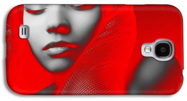 Grey Digital Art Galaxy S4 Cases - Red Beauty  Galaxy S4 Case by Naxart Studio