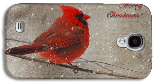 Christmas Greeting Galaxy S4 Cases - Red Bird In Snow Christmas Card Galaxy S4 Case by Lois Bryan