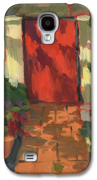 Garden Scene Paintings Galaxy S4 Cases - Red Door - Shadow and Light Galaxy S4 Case by Diane McClary