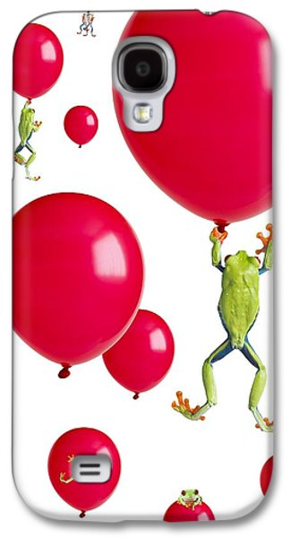 Flying Frog Galaxy S4 Cases - Red-eyed Treefrogs Floating On Red Galaxy S4 Case by Corey Hochachka