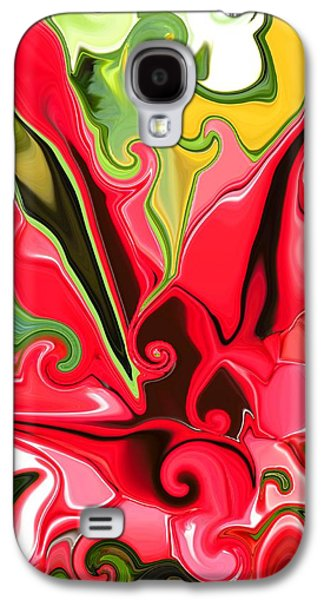 Recently Sold -  - Abstract Digital Paintings Galaxy S4 Cases - Red Fantasy Lily Galaxy S4 Case by Renate Nadi Wesley
