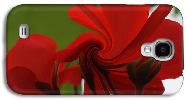 Red Geraniums Galaxy S4 Cases - Red Geranium Abstract Galaxy S4 Case by Marjorie Imbeau