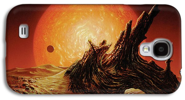 Astronomy Paintings Galaxy S4 Cases - Red Giant Sun Galaxy S4 Case by Don Dixon