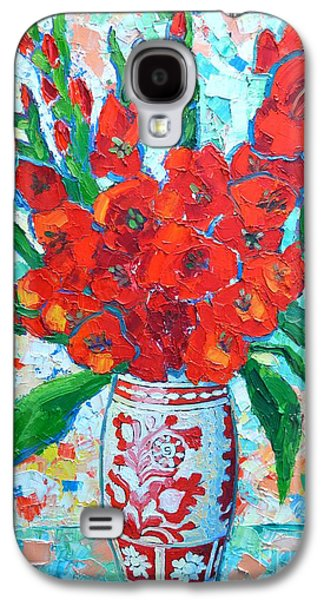Gladiolas Paintings Galaxy S4 Cases - Red Gladiolus Galaxy S4 Case by Ana Maria Edulescu