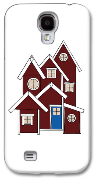 Shed Drawings Galaxy S4 Cases - Red Houses Galaxy S4 Case by Frank Tschakert