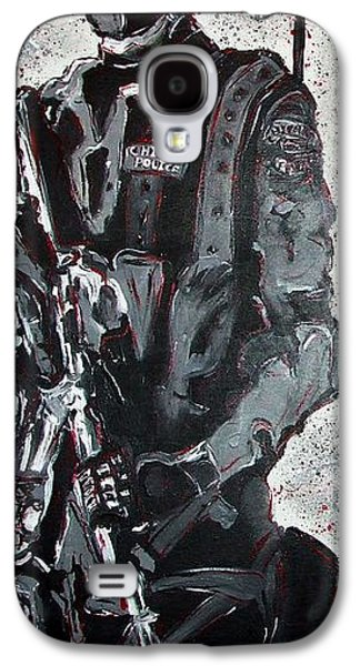 Police Art Paintings Galaxy S4 Cases - RED Marble Full Length Figure Portrait of SWAT team leader Alpha Chicago Police Full uniform War Gun Galaxy S4 Case by M Zimmerman MendyZ