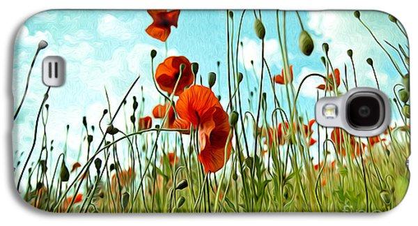 Botanical Galaxy S4 Cases - Red Poppy Flowers 03 Galaxy S4 Case by Nailia Schwarz