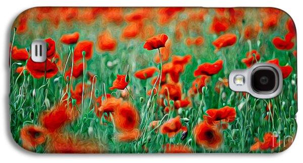 Botanical Galaxy S4 Cases - Red Poppy Flowers 04 Galaxy S4 Case by Nailia Schwarz