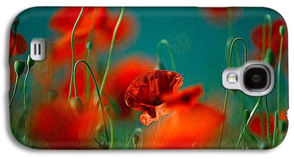 Botanical Galaxy S4 Cases - Red Poppy Flowers 05 Galaxy S4 Case by Nailia Schwarz