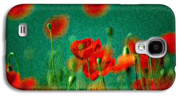 Botanical Galaxy S4 Cases - Red Poppy Flowers 07 Galaxy S4 Case by Nailia Schwarz