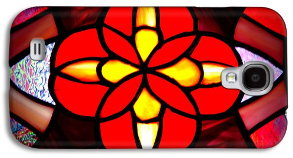 Chicago Glass Galaxy S4 Cases - Red Stained Glass Galaxy S4 Case by LeeAnn McLaneGoetz McLaneGoetzStudioLLCcom