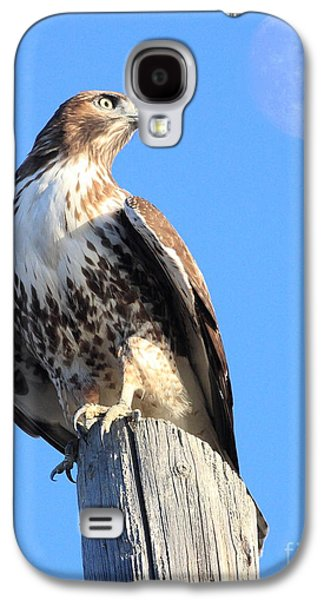 Red Tail Hawk Galaxy S4 Cases - Red Tailed Hawk and Moon Galaxy S4 Case by Wingsdomain Art and Photography