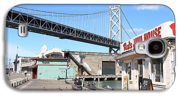 Landmarks Photographs Galaxy S4 Cases - Reds Java House and The Bay Bridge at San Francisco Embarcadero . 7D7712 Galaxy S4 Case by Wingsdomain Art and Photography