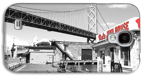 Landmarks Photographs Galaxy S4 Cases - Reds Java House and The Bay Bridge in San Francisco Embarcadero . Black and White and Red Galaxy S4 Case by Wingsdomain Art and Photography