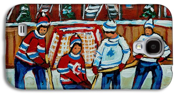 Hockey Sweaters Paintings Galaxy S4 Cases - Rink Hockey Montreal Street Scenes Galaxy S4 Case by Carole Spandau