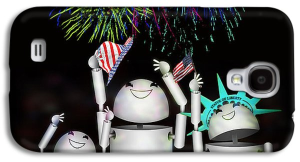 4th July Mixed Media Galaxy S4 Cases - Robo-x9 and Family Celebrate Freedom Galaxy S4 Case by Gravityx Designs