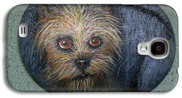 Puppies Sculptures Galaxy S4 Cases - Rock Painting-Yorkie Galaxy S4 Case by Monika Dickson-Shepherdson