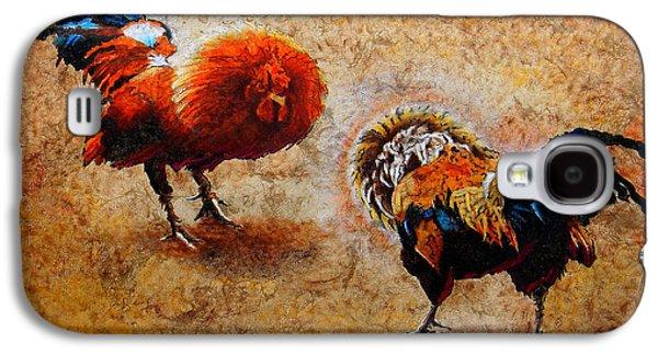 Unique Art Galaxy S4 Cases - Roosters  Scene Galaxy S4 Case by Jose Espinoza