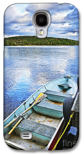 Rowboat Galaxy S4 Cases - Rowboat docked on lake Galaxy S4 Case by Elena Elisseeva