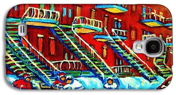 Montreal Street Life Paintings Galaxy S4 Cases - Rowhouses And Hockey Galaxy S4 Case by Carole Spandau