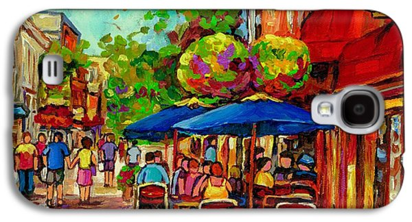 Montreal Streetscenes Paintings Galaxy S4 Cases - Rue Prince Arthur Montreal Galaxy S4 Case by Carole Spandau