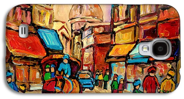Montreal Street Life Paintings Galaxy S4 Cases - Rue St. Paul Old Montreal Streetscene Galaxy S4 Case by Carole Spandau