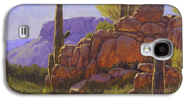 Usa Paintings Galaxy S4 Cases - Saguaro Sunshine Galaxy S4 Case by Cody DeLong