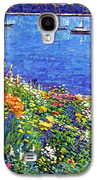 Sailboat Ocean Paintings Galaxy S4 Cases - Sailboat Bay Garden Galaxy S4 Case by David Lloyd Glover