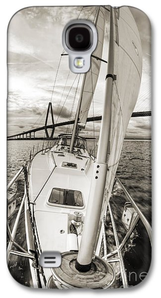 B Photographs Galaxy S4 Cases - Sailboat Sailing Past Arthur Ravenel Jr Bridge Charleston SC Galaxy S4 Case by Dustin K Ryan