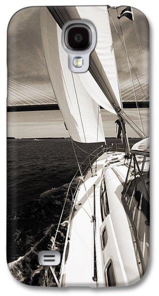 Sailing Galaxy S4 Cases - Sailing Under the Arthur Ravenel Jr. Bridge in Charleston SC Galaxy S4 Case by Dustin K Ryan
