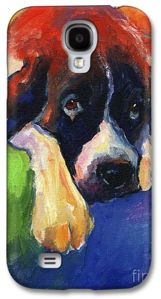 Saints Drawings Galaxy S4 Cases - Saint Bernard Dog colorful portrait painting print Galaxy S4 Case by Svetlana Novikova