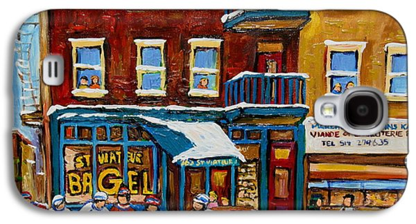 Montreal Streets Paintings Galaxy S4 Cases - Saint Viateur Bagel With Hockey Galaxy S4 Case by Carole Spandau