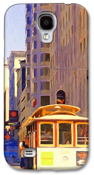 Long Street Digital Art Galaxy S4 Cases - San Francisco Cable Car Coming Down Powell Street Galaxy S4 Case by Wingsdomain Art and Photography