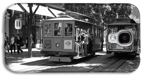 Transportation Photographs Galaxy S4 Cases - San Francisco Cable Cars at The Powell Street Cable Car Turnaround - 5D17959 - black and white Galaxy S4 Case by Wingsdomain Art and Photography